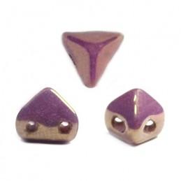 Super-KhéopS® par Puca® lasihelmi 6 x 6 mm, opaakki keraaminen violetti/kulta