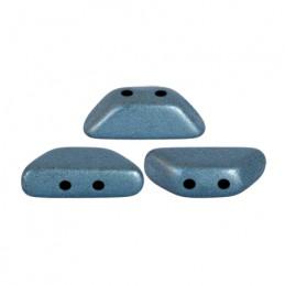 Tinos® par Puca® lasihelmi 4 x 10 mm, metallinen matta sininen