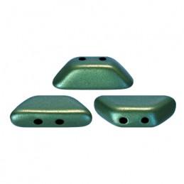 Tinos® par Puca® lasihelmi 4 x 10 mm, metallinen matta vihreänturkoosi
