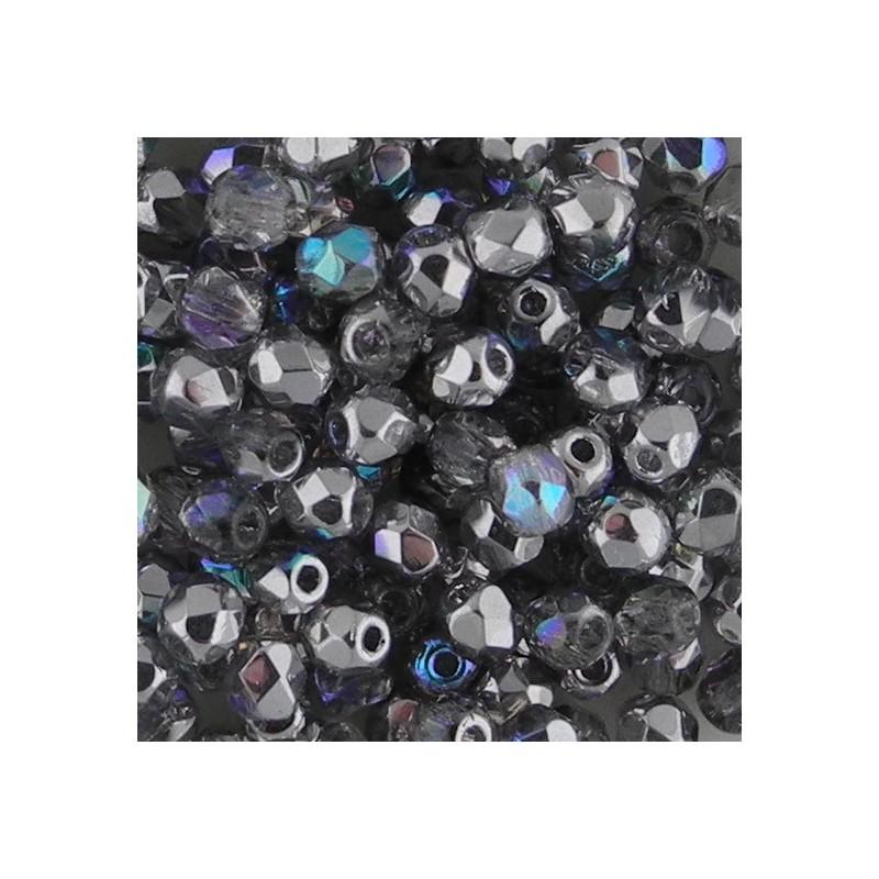 Preciosa fasettihiottu pyöreä lasihelmi 3 mm, kirkas/hopea AB