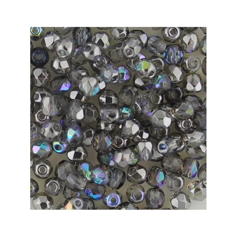 Preciosa fasettihiottu pyöreä lasihelmi 3 mm, kirkas grafiitinharmaa AB