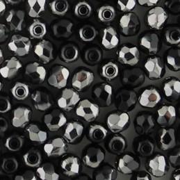 Preciosa fasettihiottu pyöreä lasihelmi 3 mm, opaakki musta kromi