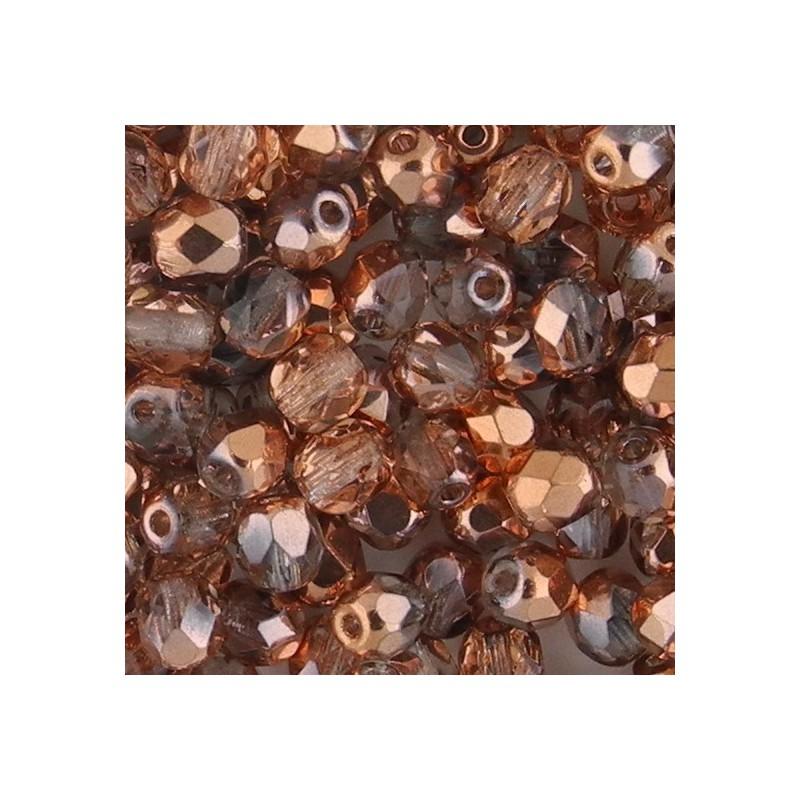 Preciosa fasettihiottu pyöreä lasihelmi 4 mm, kirkas kultainen kapri
