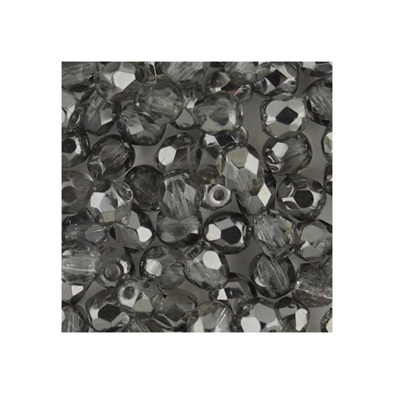Preciosa fasettihiottu pyöreä lasihelmi 4 mm, kirkas kromi