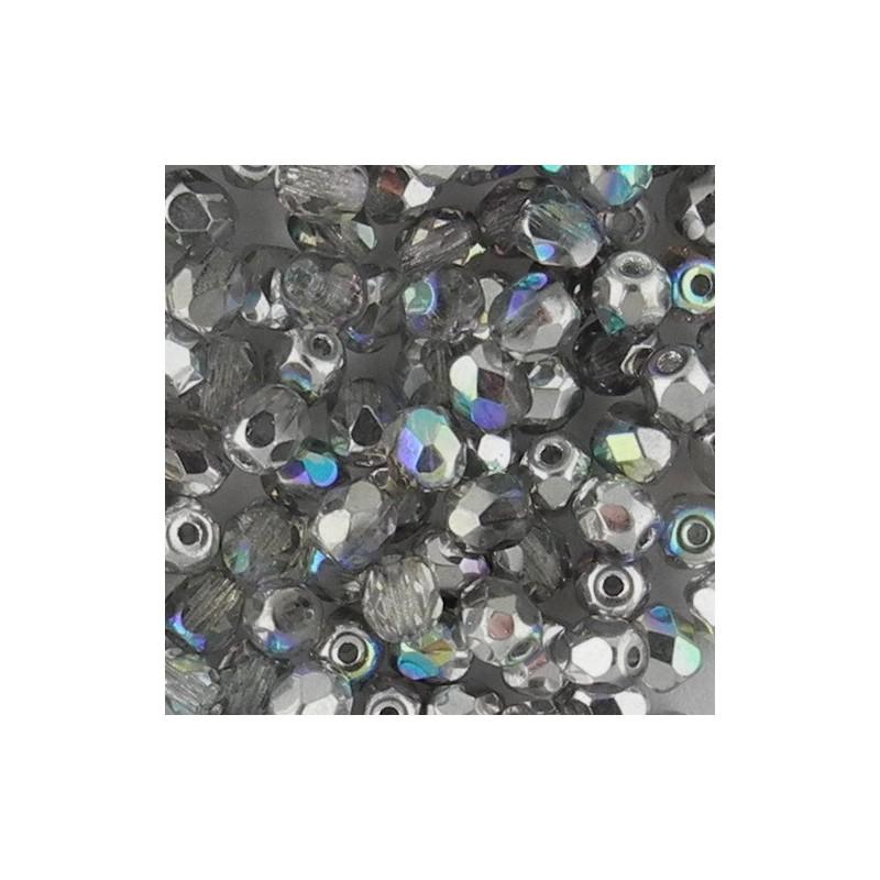 Preciosa fasettihiottu pyöreä lasihelmi 4 mm, kirkas hopea AB