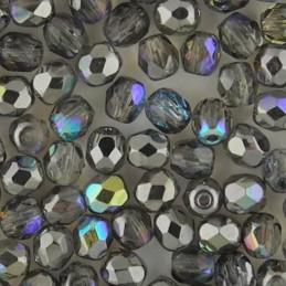 Preciosa fasettihiottu pyöreä lasihelmi 4 mm, kirkas grafiitinharmaa AB