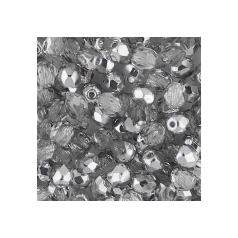 Preciosa fasettihiottu pyöreä lasihelmi 4 mm, kirkas labrador