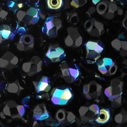 Preciosa fasettihiottu pyöreä lasihelmi 4 mm, opaakki musta AB