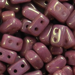 Ios® par Puca® lasihelmi 5,5 x 2,5 mm, opaakki keraaminen violetti/kulta