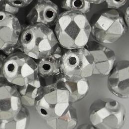 Preciosa fasettihiottu pyöreä lasihelmi 6 mm, hopea