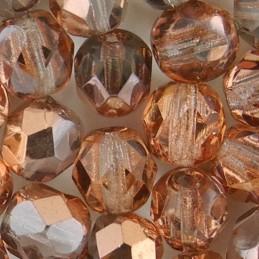 Preciosa fasettihiottu pyöreä lasihelmi 6 mm, kirkas kultainen kapri