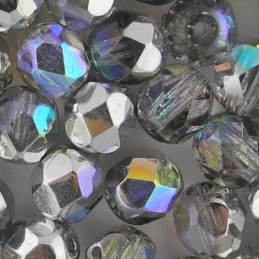 Preciosa fasettihiottu pyöreä lasihelmi 6 mm, kirkas/hopea AB