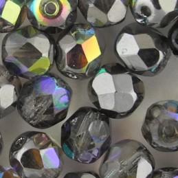 Preciosa fasettihiottu pyöreä lasihelmi 6 mm, kirkas grafiitinharmaa AB