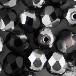 Preciosa fasettihiottu pyöreä lasihelmi 6 mm, opaakki musta labrador