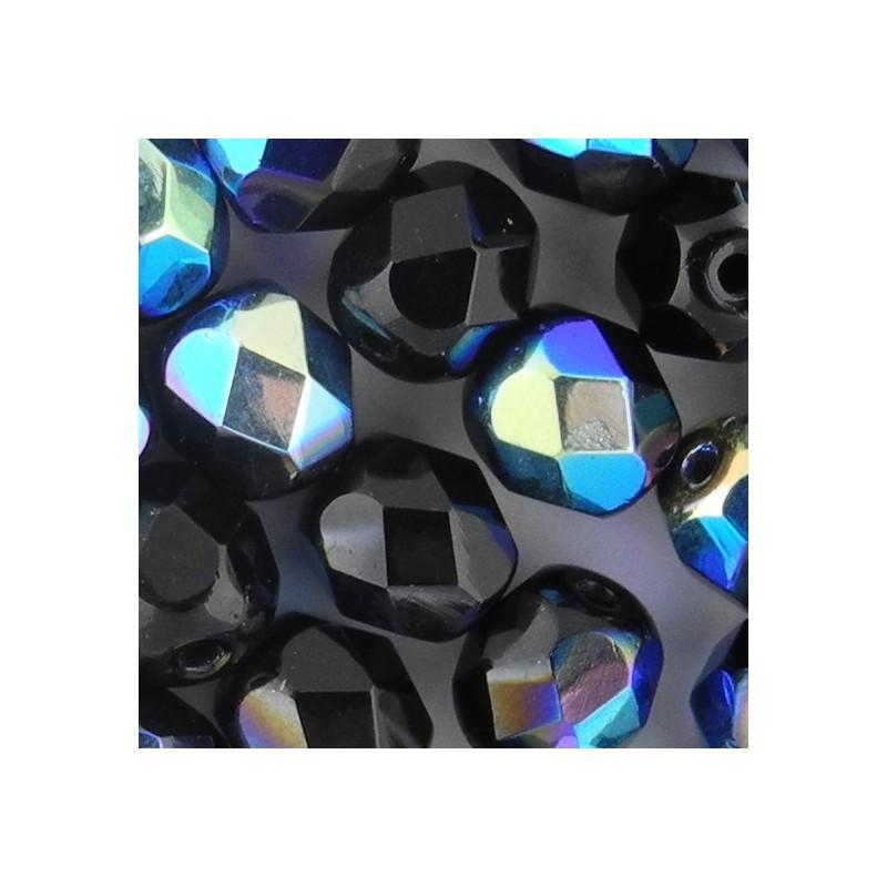Preciosa fasettihiottu pyöreä lasihelmi 6 mm, opaakki musta AB