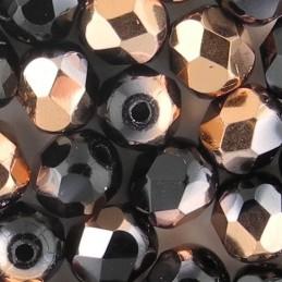 Preciosa fasettihiottu pyöreä lasihelmi 6 mm, opaakki musta kultainen kapri