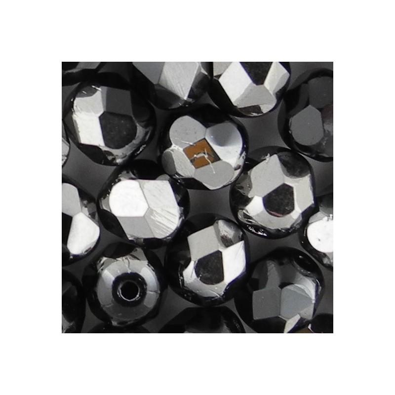 Preciosa fasettihiottu pyöreä lasihelmi 6 mm, opaakki musta kromi