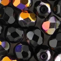 Preciosa fasettihiottu pyöreä lasihelmi 6 mm, opaakki musta sliperit