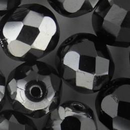 Preciosa fasettihiottu pyöreä lasihelmi 8 mm, opaakki musta kromi