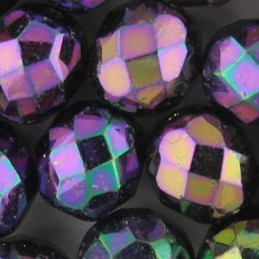 Preciosa fasettihiottu pyöreä lasihelmi 8 mm, punainen iris