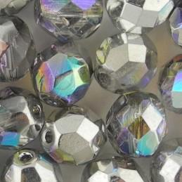 Preciosa fasettihiottu pyöreä lasihelmi 8 mm, kirkas/hopea AB
