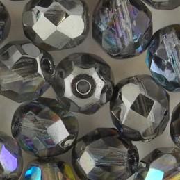Preciosa fasettihiottu pyöreä lasihelmi 8 mm, kirkas grafiitinharmaa AB