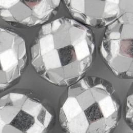 Preciosa fasettihiottu pyöreä lasihelmi 10 mm, hopea