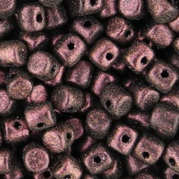 Minos® par Puca® lasihelmi 2,5 x 3 mm, metallinen matta tumma punavioletti