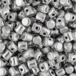 Minos® par Puca® lasihelmi 2,5 x 3 mm, hopea