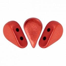 Amos® par Puca® lasihelmi 5 x 8 mm, metallinen matta punainen