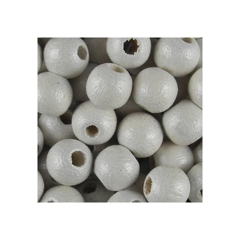 Preciosa pyöreä lakattu puuhelmi 6 mm, helmeilevä valkoinen