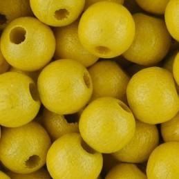 Preciosa pyöreä lakattu puuhelmi 6 mm, helmeilevä keltainen