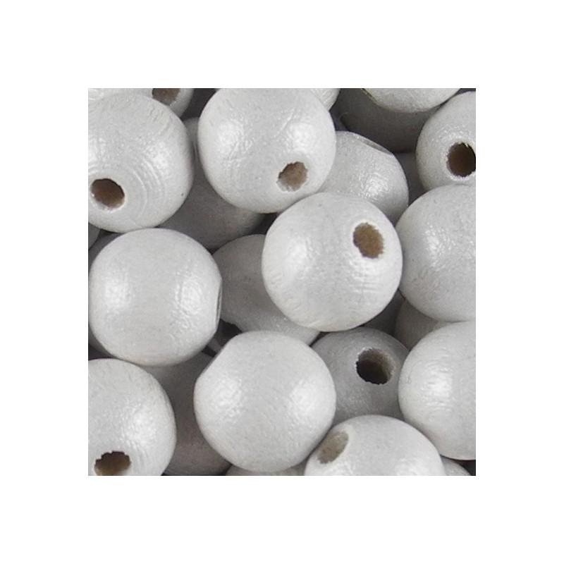 Preciosa pyöreä lakattu puuhelmi 8 mm, helmeilevä valkoinen