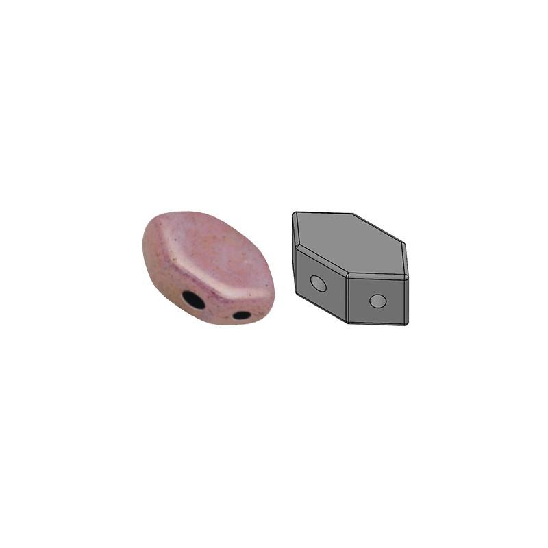 Paros® par Puca® lasihelmi 4 x 7 mm, opaakki keraaminen violetti/kulta