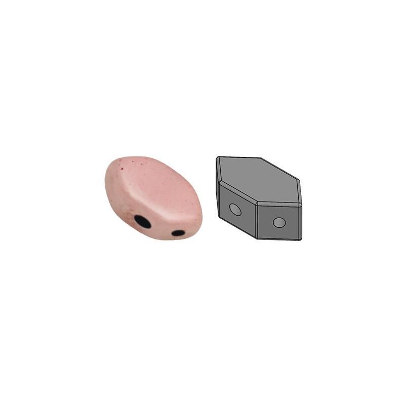 Paros® par Puca® lasihelmi 4 x 7 mm, opaakki keraaminen vaalea roosa