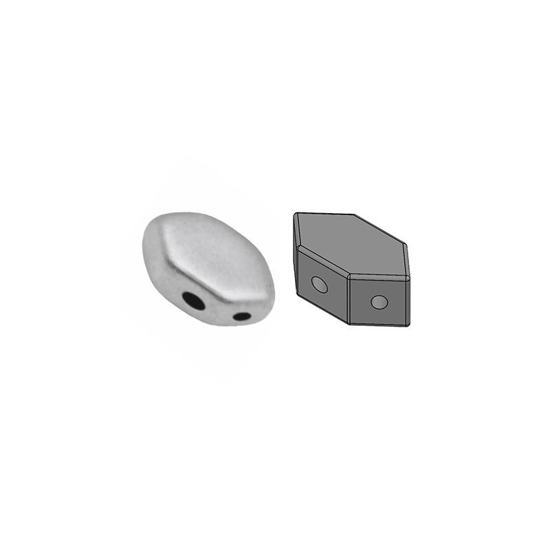 Paros® par Puca® lasihelmi 4 x 7 mm, matta alumiini hopea