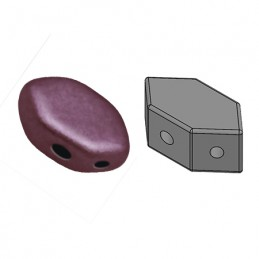 Paros® par Puca® lasihelmi 4 x 7 mm, metallinen matta tumma punavioletti