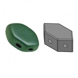 Paros® par Puca® lasihelmi 4 x 7 mm, metallinen matta vihreänturkoosi