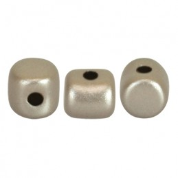 Minos® par Puca® lasihelmi 2,5 x 3 mm, metallinen matta beige