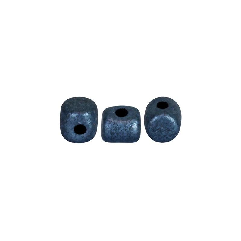 Minos® par Puca® lasihelmi 2,5 x 3 mm, metallinen matta tummansininen