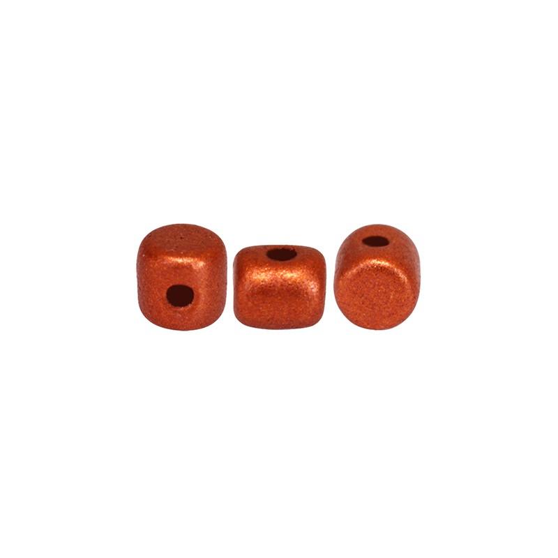 Minos® par Puca® lasihelmi 2,5 x 3 mm, matta pronssinen punainen