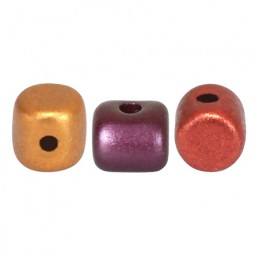 Minos® par Puca® lasihelmi 2,5 x 3 mm, metallinen kultainen iris