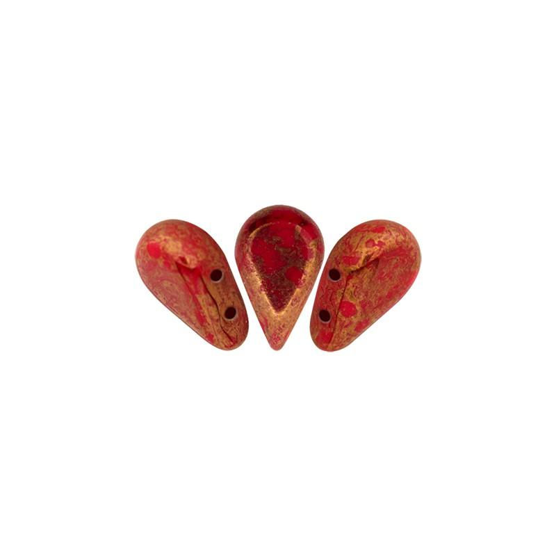 Amos® par Puca® lasihelmi 5 x 8 mm, opaakki marmoroitu pronssinen korallinpunainen