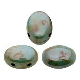 Samos® par Puca® lasihelmi 5 x 7 mm, opaakki keraaminen sininen/vihreä