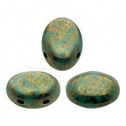 Samos® par Puca® lasihelmi 5 x 7 mm, opaakk marmoroitu pronssinen vihreänturkoosi
