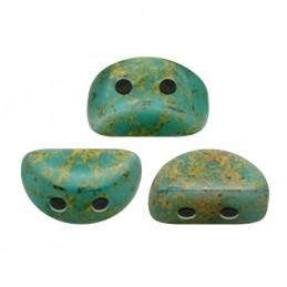 Kos® par Puca® lasihelmi 3 x 6 mm, opaakki marmoroitu pronssinen vihreänturkoosi