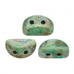 Kos® par Puca® lasihelmi 3 x 6 mm, opaakki vihreänturkoosi picasso