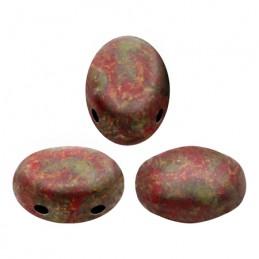 Samos® par Puca® lasihelmi 5 x 7 mm, opaakki marmoroitu tummankultainen korallinpunainen