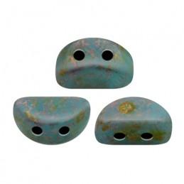 Kos® par Puca® lasihelmi 3 x 6 mm, opaakki marmoroitu tummankultainen aqua