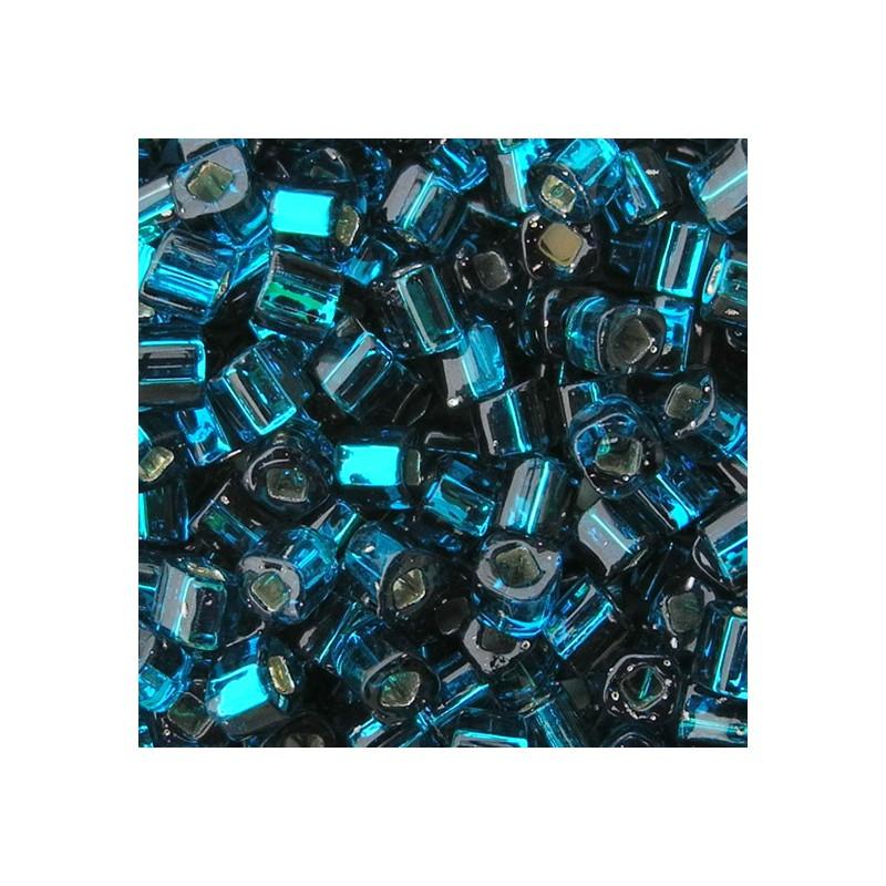 Toho siemenhelmi kuutio 3 mm, hopeasisus sinivihreä